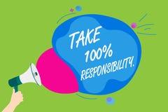 Το κείμενο γραφής παίρνει την ευθύνη 100 Η σημασία έννοιας είναι αρμόδια για τον κατάλογο αντικειμένων πραγμάτων για να κάνει Meg Στοκ Εικόνες