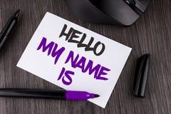 Το κείμενο γραφής που γράφει γειά σου το όνομά μου είναι Έννοια που σημαίνει τη συνεδρίαση κάποιος νέα παρουσίαση συνέντευξης εισ Στοκ Φωτογραφία