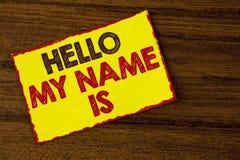 Το κείμενο γραφής που γράφει γειά σου το όνομά μου είναι Έννοια που σημαίνει τη συνεδρίαση κάποιος νέα παρουσίαση συνέντευξης εισ Στοκ εικόνα με δικαίωμα ελεύθερης χρήσης