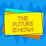 Το κείμενο γραφής που γράφει το μέλλον είναι τώρα Έννοια που σημαίνει το νόμο για να λάβει σήμερα τι θέλετε αύριο το σωρό απεικόνιση αποθεμάτων