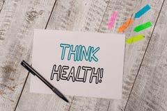 Το κείμενο γραφής σκέφτεται την υγεία Έννοια που σημαίνει την κατάσταση πλήρεις φυσικός διανοητικός και κοινωνικός καλά - όντας σ στοκ φωτογραφία με δικαίωμα ελεύθερης χρήσης