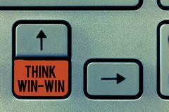Το κείμενο γραφής σκέφτεται ότι κερδίστε κερδίζει Η έννοια που σημαίνει τις συμφωνίες ή οι λύσεις είναι αμοιβαία ευεργετική και ι στοκ εικόνα με δικαίωμα ελεύθερης χρήσης