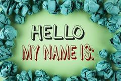 Το κείμενο γραψίματος λέξης γειά σου το όνομά μου είναι Επιχειρησιακή έννοια για τη συνεδρίαση κάποιος νέα παρουσίαση συνέντευξης Στοκ Φωτογραφία