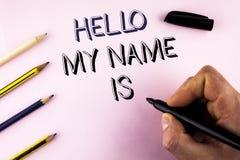 Το κείμενο γραψίματος λέξης γειά σου το όνομά μου είναι Επιχειρησιακή έννοια για τη συνεδρίαση κάποιος νέα παρουσίαση συνέντευξης Στοκ εικόνα με δικαίωμα ελεύθερης χρήσης
