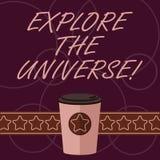 Το κείμενο γραψίματος λέξης ερευνά τον κόσμο Επιχειρησιακή έννοια για Discover το διάστημα και ο χρόνος και ο τρισδιάστατος καφές διανυσματική απεικόνιση
