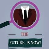 Το κείμενο γραψίματος λέξης το μέλλον είναι τώρα Επιχειρησιακή έννοια για το νόμο για να λάβει σήμερα τι θέλετε αύριο την ενίσχυσ ελεύθερη απεικόνιση δικαιώματος
