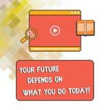 Το κείμενο γραψίματος λέξης το μέλλον σας εξαρτάται από αυτό που σήμερα Η επιχειρησιακή έννοια για κάνει την ταμπλέτα σωστών ενερ διανυσματική απεικόνιση