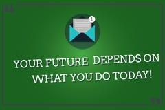 Το κείμενο γραψίματος λέξης το μέλλον σας εξαρτάται από αυτό που σήμερα Η επιχειρησιακή έννοια για καθιστά τις σωστές ενέργειες τ ελεύθερη απεικόνιση δικαιώματος