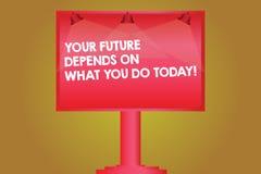 Το κείμενο γραψίματος λέξης το μέλλον σας εξαρτάται από αυτό που σήμερα Η επιχειρησιακή έννοια για κάνει τις σωστές ενέργειες τον ελεύθερη απεικόνιση δικαιώματος