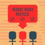 Το κείμενο γραψίματος λέξης μειώνει την επαναχρησιμοποίηση ανακύκλωσης Επιχειρησιακή έννοια για περιορίζοντας στο ποσό απορριμάτω διανυσματική απεικόνιση