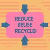 Το κείμενο γραψίματος λέξης μειώνει την επαναχρησιμοποίηση ανακύκλωσης Επιχειρησιακή έννοια για περιορίζοντας στο ποσό απορριμάτω απεικόνιση αποθεμάτων