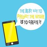 Το κείμενο γραψίματος λέξης ο καλύτερος τρόπος να προβλεφθεί το μέλλον πρόκειται να το δημιουργήσει Η επιχειρησιακή έννοια για το διανυσματική απεικόνιση