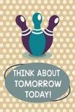 Το κείμενο γραψίματος λέξης σκέφτεται για το αύριο σήμερα Η επιχειρησιακή έννοια για Prepare το μέλλον σας προβλέπει τώρα αυτό πο διανυσματική απεικόνιση