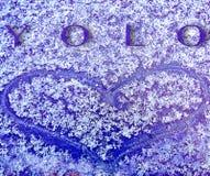 Το κείμενο εσείς ζει μόνο μόλις ακούσει το απόσπασμα με ένα μπλε στη μακρο ταπετσαρία υποβάθρου χιονιού στοκ εικόνες με δικαίωμα ελεύθερης χρήσης