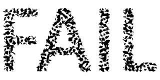 Το κείμενο λέξης αποτυγχάνει, οι επιστολές είναι σπασμένες στα τεμάχια, το διάνυσμα είναι σπασμένο στην απεικόνιση έννοιας κομματ απεικόνιση αποθεμάτων