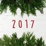 το κείμενο σημαδιών του 2017 στο πράσινο δέντρο διακλαδίζεται πλαίσιο μοντέρνο άσπρο rus Στοκ Φωτογραφία