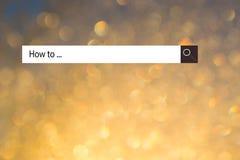 """Το κείμενο στη μηχανή αναζήτησης παρουσιάζει """"πώς ` Εννοιολογικός κατάλογος φωτογραφιών πραγμάτων που πρόκειται να γίνουν δημοφιλ στοκ φωτογραφίες με δικαίωμα ελεύθερης χρήσης"""