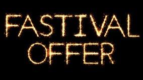 Το κείμενο Sparkler προσφοράς φεστιβάλ ακτινοβολεί ζωτικότητα βρόχων πυροτεχνημάτων σπινθήρων ελεύθερη απεικόνιση δικαιώματος