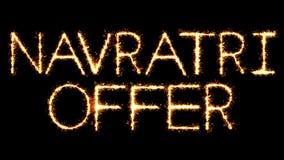 Το κείμενο Sparkler προσφοράς Navratri ακτινοβολεί ζωτικότητα βρόχων πυροτεχνημάτων σπινθήρων απεικόνιση αποθεμάτων