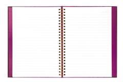 Το κενό άσπρο έγγραφο σημειωματάριων απομονώνει στο άσπρο υπόβαθρο Στοκ εικόνα με δικαίωμα ελεύθερης χρήσης