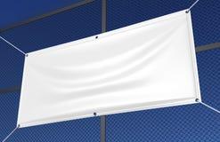 Το κενό άσπρο εσωτερικό υπαίθριο βινυλίου έμβλημα υφάσματος & Scrim για την τυπωμένη ύλη σχεδιάζει την παρουσίαση η τρισδιάστατη  διανυσματική απεικόνιση