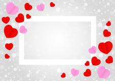 Το κενό άσπρο πλαίσιο και η κόκκινη ρόδινη μορφή καρδιών για το γκρίζο  διανυσματική απεικόνιση