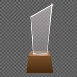 Το κενό ρεαλιστικό τρόπαιο γυαλιού απονέμει το διανυσματικό άγαλμα Στοκ Φωτογραφίες
