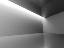 Το κενό σκοτεινό δωμάτιο με διακοσμεί τα φω'τα εκλεκτής ποιότητας λευκό καναπέδων δωματίων ανασκόπησης εσωτερικό Στοκ Φωτογραφία