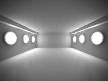 Το κενό σκοτεινό δωμάτιο με διακοσμεί τα φω'τα εκλεκτής ποιότητας λευκό καναπέδων δωματίων ανασκόπησης εσωτερικό Στοκ φωτογραφία με δικαίωμα ελεύθερης χρήσης