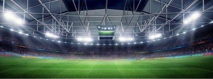 Το κενό στάδιο ποδοσφαίρου τρισδιάστατο στις ελαφριές ακτίνες δίνει τη νύχτα Στοκ Εικόνες