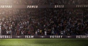 Το κενό στάδιο ποδοσφαίρου Durk τρισδιάστατο στις ελαφριές ακτίνες δίνει Στοκ Εικόνες