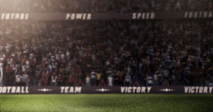 Το κενό στάδιο ποδοσφαίρου Durk τρισδιάστατο στις ελαφριές ακτίνες δίνει τη θαμπάδα Στοκ Εικόνα
