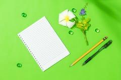Το κενό φύλλο του σημειωματάριου με τη μάνδρα, το μολύβι και το frangipani ανθίζουν στο πράσινο υπόβαθρο για κάποιο ιδέα ή μήνυμα Στοκ φωτογραφία με δικαίωμα ελεύθερης χρήσης