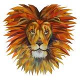 Το κεφάλι ενός λιονταριού με έναν μεγάλο Μάιν, μωσαϊκό Καθιερώνον τη μόδα ύφος geometr Στοκ Εικόνες