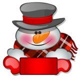 Το κεφάλι χιονανθρώπων ` s στο tophat Σκίτσο για τη ευχετήρια κάρτα, την εορταστική αφίσα ή τις προσκλήσεις κομμάτων οι ιδιότητες απεικόνιση αποθεμάτων