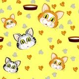 Το κεφάλι και τα ίχνη της γάτας διανυσματική απεικόνιση