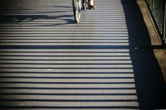 Το κιγκλίδωμα γεφυρών ρίχνει τις σκιές Στοκ Εικόνα