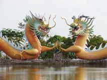Το κινεζικό άγαλμα δράκων γύρω από τη λίμνη, τέχνες καλύπτει έναν συνδυασμό ύφους Κίνα και Ταϊλάνδη ένας μοναδικός Στοκ Εικόνες