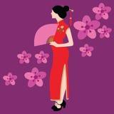 Το κινεζικό παραδοσιακό κοστούμι φορεμάτων Qipao ντύνει το κόκκινο λουλούδι απεικόνισης σχεδίων της Κίνας Ασία διανυσματικό Στοκ Εικόνες