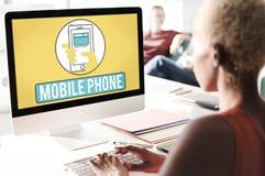 Το κινητό τηλεφωνικό κινητό τηλέφωνο κυψελοειδές επικοινωνεί την έννοια Στοκ Εικόνες