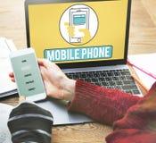 Το κινητό τηλεφωνικό κινητό τηλέφωνο κυψελοειδές επικοινωνεί την έννοια Στοκ Φωτογραφίες