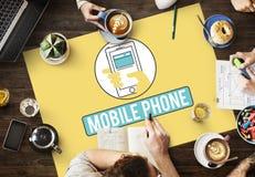 Το κινητό τηλεφωνικό κινητό τηλέφωνο κυψελοειδές επικοινωνεί την έννοια Στοκ Εικόνα