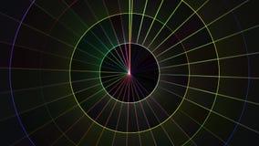 Το κινούμενο πλέγμα κύκλων νέου εμποδίζει υποβάθρου δυναμικό ζωντανεψοντα τεχνολογικό ζωηρόχρωμο ποιοτικών καθολικό κινήσεων ζωτι διανυσματική απεικόνιση