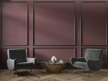 Το κλασικό κόκκινο εσωτερικό κενό δωμάτιο χρώματος marsala με το τραπεζάκι σαλονιού πολυθρόνων ανθίζει τα σχήματα και το ξύλινο π στοκ εικόνες