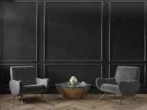 Το κλασικό μαύρο εσωτερικό κενό δωμάτιο με το τραπεζάκι σαλονιού πολυθρόνων ανθίζει τα σχήματα και το ξύλινο πάτωμα στοκ φωτογραφίες με δικαίωμα ελεύθερης χρήσης