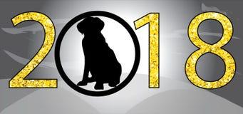 Το κλασικό eps Χριστουγέννων υποβάθρου καλής χρονιάς έτος εικόνων το 2018 του χρυσού σκυλιών clipart ακτινοβολεί εικόνες Χριστουγ Στοκ φωτογραφία με δικαίωμα ελεύθερης χρήσης