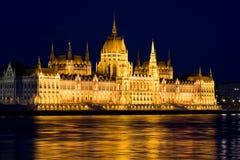 Το Κοινοβούλιο της Βουδαπέστης τη νύχτα Στοκ Εικόνα
