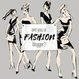 Το κοινωνικό έμβλημα μόδας μέσων με τα πρότυπα γυναικών ομορφιάς, είναι εσείς διαμορφώνει blogger, συλλογή προτύπων Ιστού αγγελιώ Στοκ Εικόνες