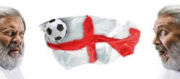 Το κολάζ για τις συγκινήσεις των οπαδών ποδοσφαίρου της Αγγλίας στραγγίζει και σημαιοστολίζει απομονωμένος στο άσπρο υπόβαθρο Στοκ Φωτογραφία