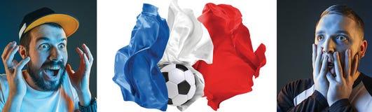 Το κολάζ για τις συγκινήσεις των οπαδών ποδοσφαίρου της Γαλλίας στραγγίζει και σημαιοστολίζει στο άσπρο υπόβαθρο Στοκ Εικόνες